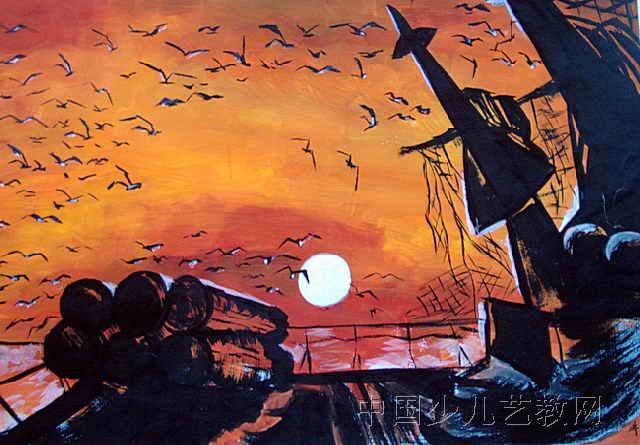 儿童画画 装饰画 《夕阳·渔港》儿童画画