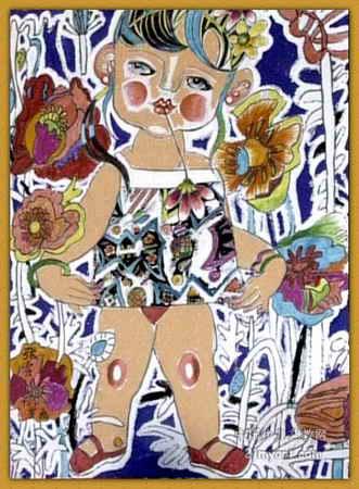 孩子和花 简笔画 孩子和花 图片欣赏 孩子和花 儿童画画作品