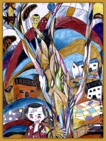 儿童画画 装饰画 《大树》儿童画画