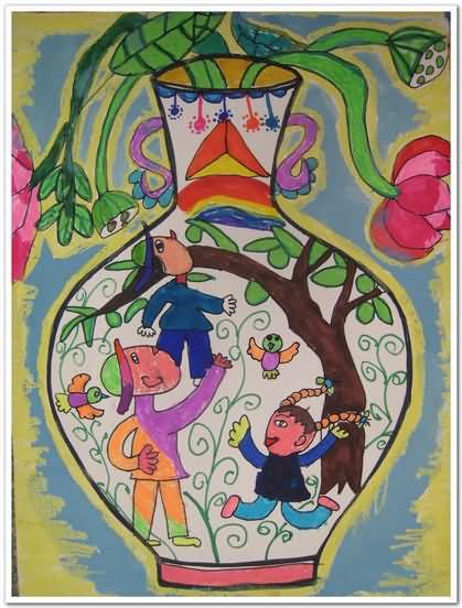 五彩花瓶简笔画 五彩花瓶图片欣赏 五彩花瓶儿童画画作品