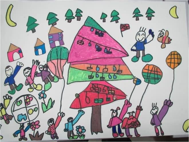 家乡情结简笔画 家乡情结图片欣赏 家乡情结儿童画画作品