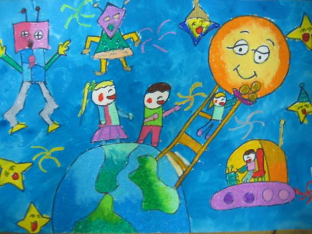 探望星球简笔画 探望星球图片欣赏 探望星球儿童画画作品