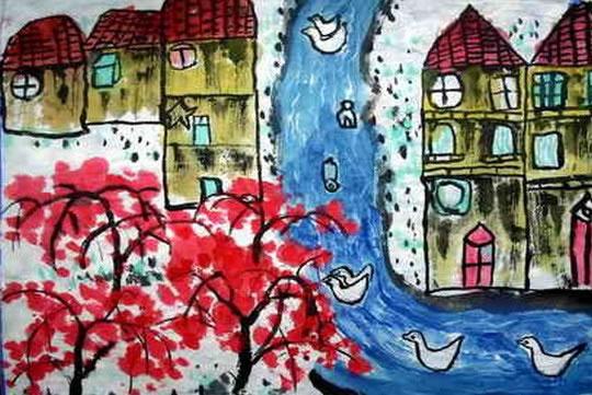 儿童画画 工笔画 可爱的家乡儿童画画