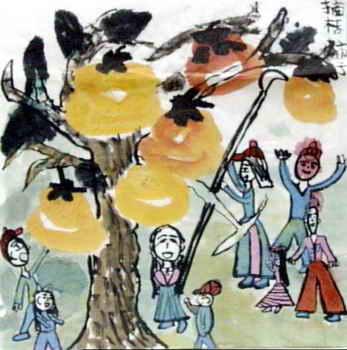 《摘柿子》简笔画_《摘柿子》图片欣赏