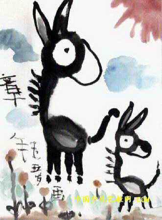 儿童水墨画图片 毛驴