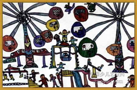 儿童画画 工笔画 《游乐场》儿童画画