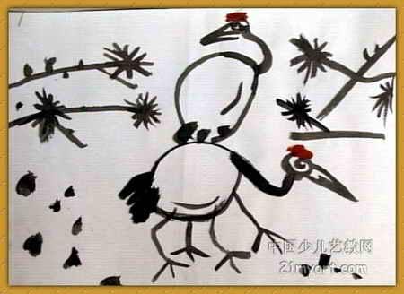工笔画-《漂亮的仙鹤》