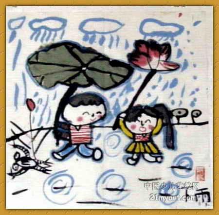 下雨 简笔画 下雨 图片欣赏 下雨 儿童画画作品