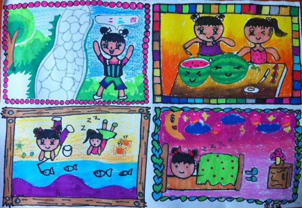 我的暑假日记简笔画 我的暑假日记图片欣赏 我的暑假日记儿童画画作品图片