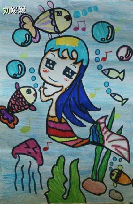美人鱼公主简笔画 美人鱼公主图片欣赏 美人鱼公主儿童画画作品
