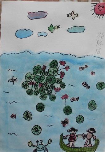 清凉夏日游简笔画 清凉夏日游图片欣赏 清凉夏日游儿童画画作品