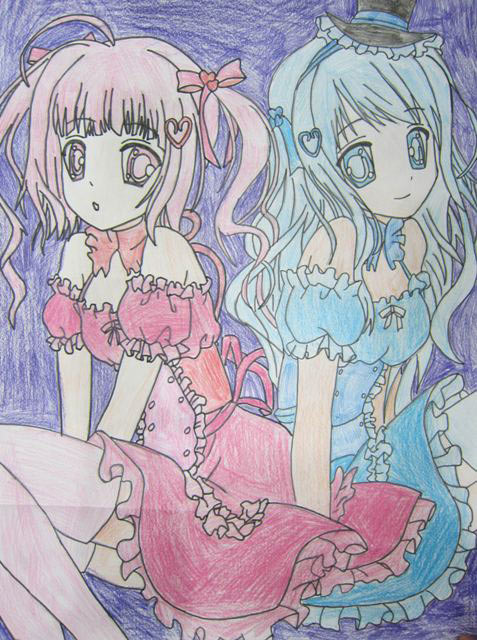 水彩画-漂亮的姐妹花