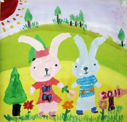 水彩画-小兔子的快乐假期