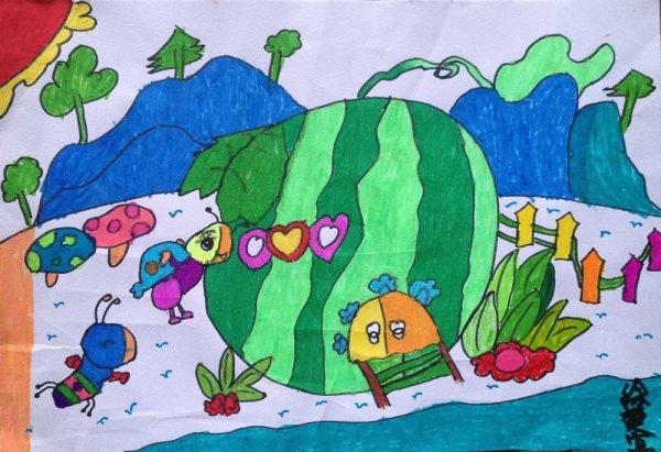 儿童画画 水粉画 西瓜城市的旅行儿童画画