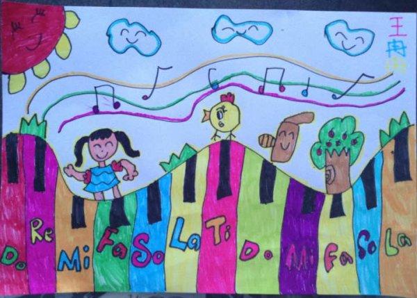 夏日钢琴之旅简笔画 夏日钢琴之旅图片欣赏 夏日钢琴之旅儿童画画作品