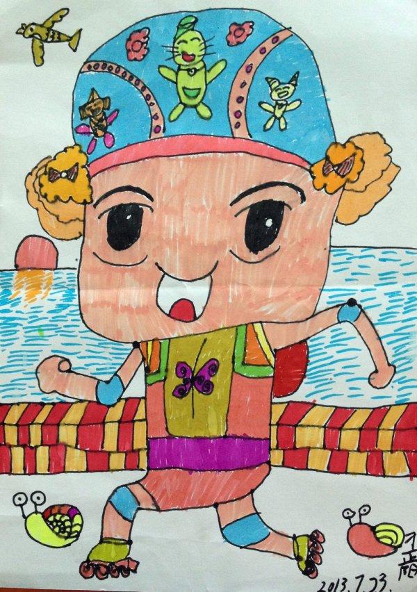 儿童画画 蜡笔画 参加游泳比赛儿童画画