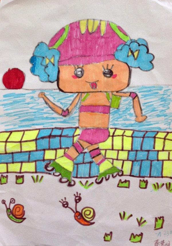 轮滑比赛简笔画_轮滑比赛图片欣赏_轮滑比赛儿童画画