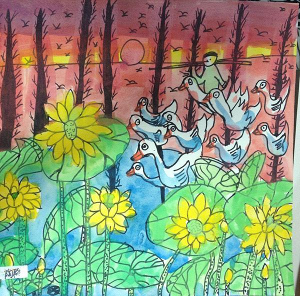 放鸭归来简笔画 放鸭归来图片欣赏 放鸭归来儿童画画作品