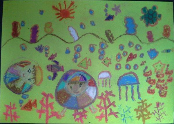 到海底游泳去简笔画 到海底游泳去图片欣赏 到海底游泳去儿童画画作品