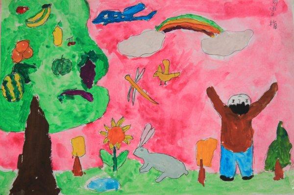 水粉画之水果树 -水果树简笔画 水果树图片欣赏 水果树儿童画画作品