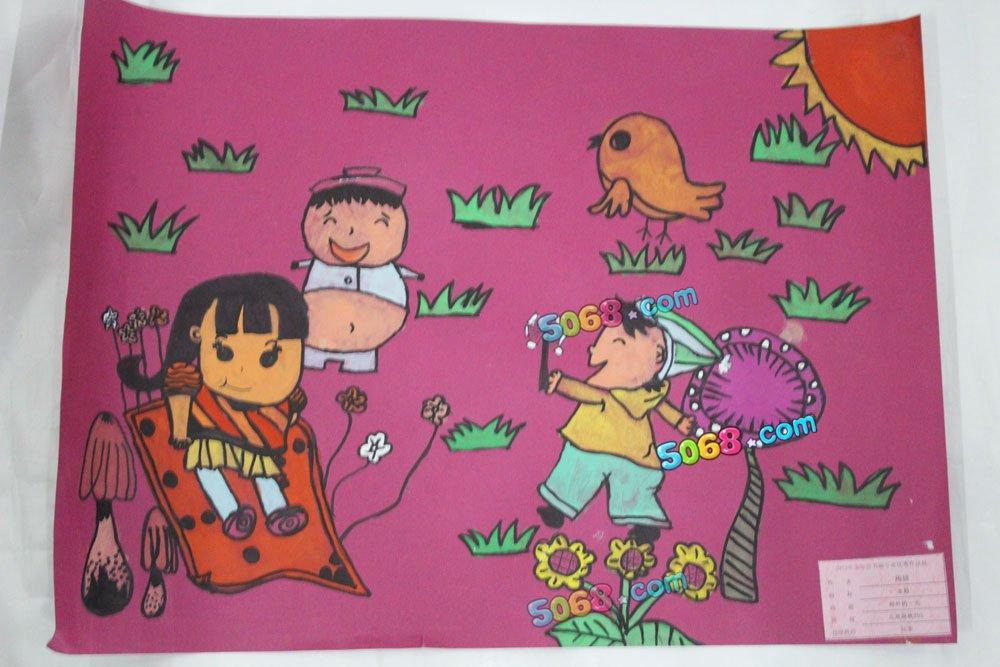郊外的一天简笔画 郊外的一天图片欣赏 郊外的一天儿童画画作品