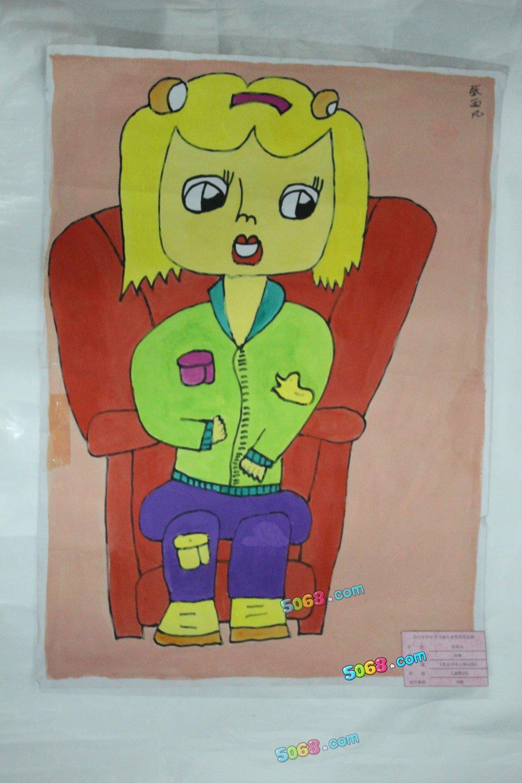 坐在沙发上的女孩简笔画