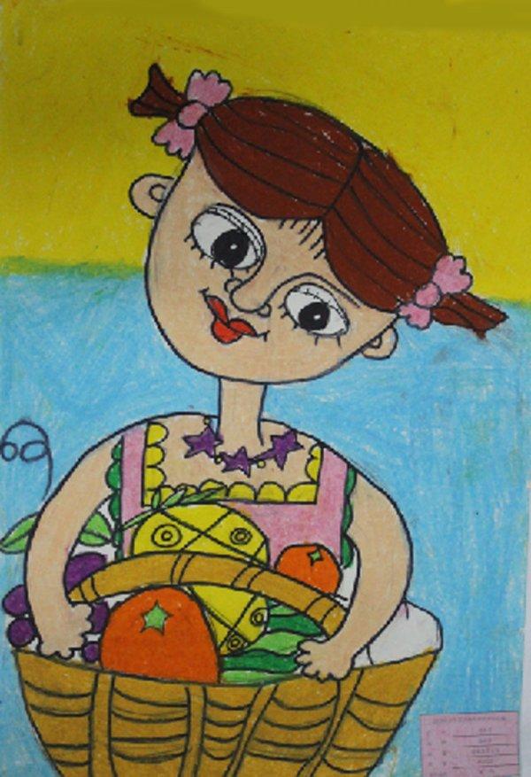 提果篮的小女孩简笔画