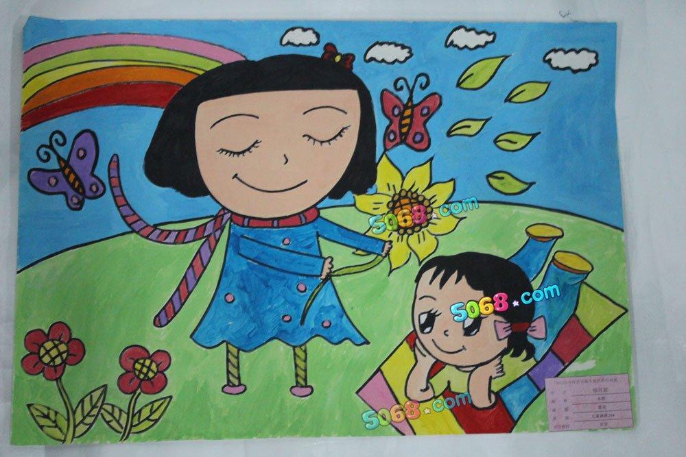 儿童画画 彩笔画 夏日赏花儿童画画