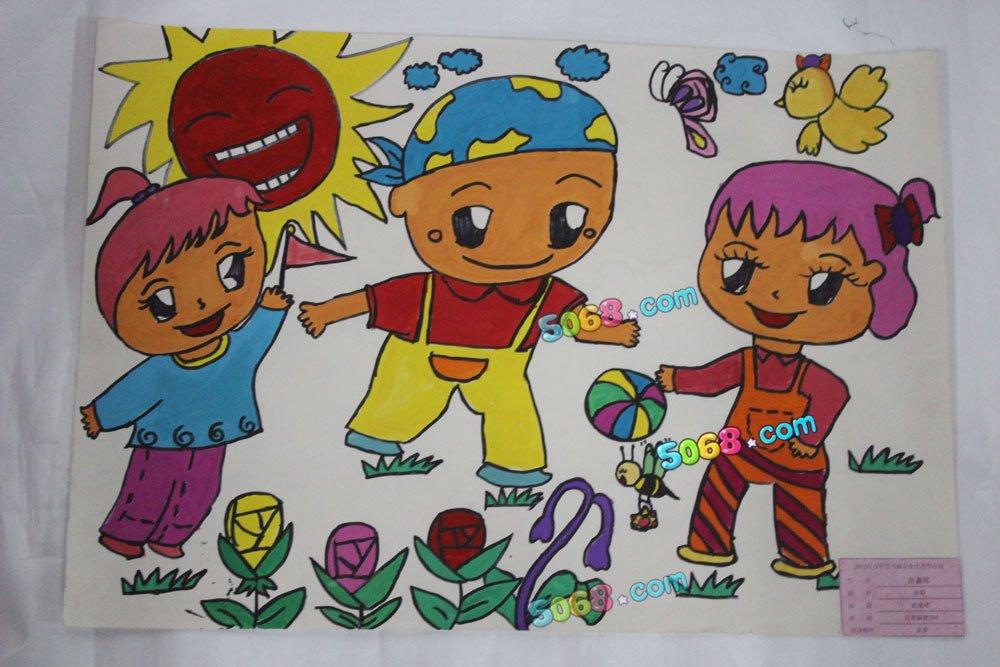 儿童画画 彩笔画 拍皮球儿童画画