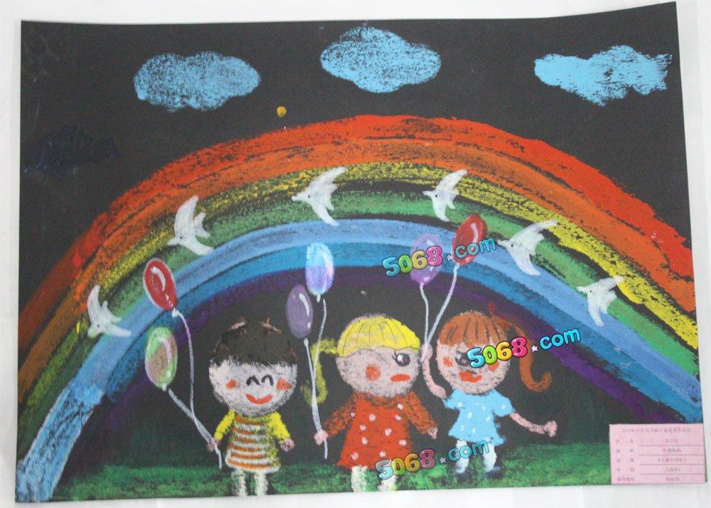美丽的彩虹简笔画