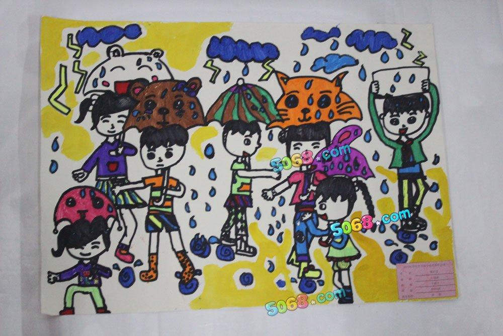 下雨了简笔画_下雨了图片欣赏_下雨了儿童画画作品-有