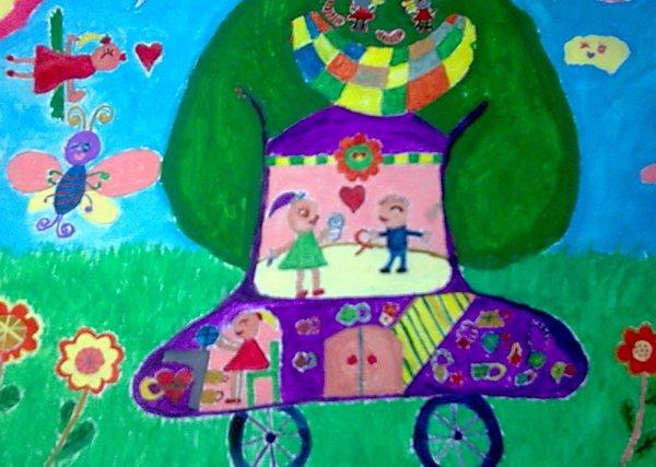儿童画画 彩笔画 梦想中的爱心树汽车儿童画画