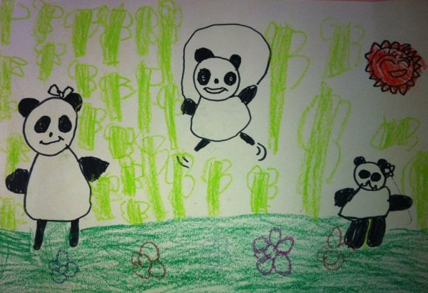 蜡笔画-小熊猫们的假期