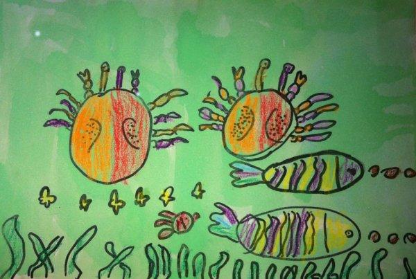 小河里的夏天简笔画 小河里的夏天图片欣赏 小河里的夏天儿童画画作品