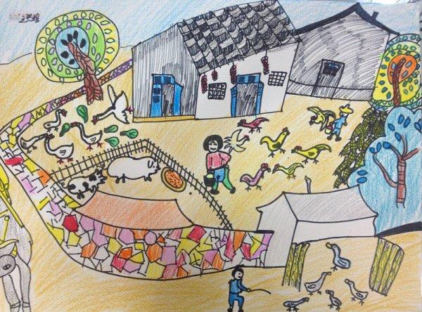 乡村假期简笔画_乡村假期图片欣赏_乡村假期儿童画画