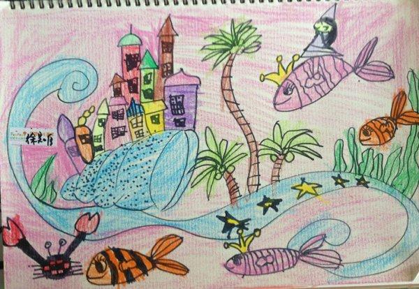 蜡笔画图片大全-海底城堡