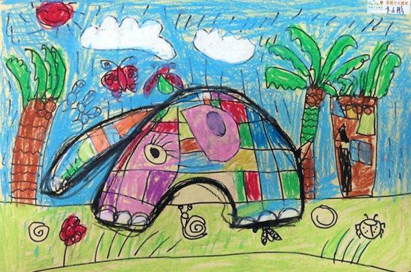 雨天的大象简笔画 雨天的大象图片欣赏 雨天的大象儿童画画作品