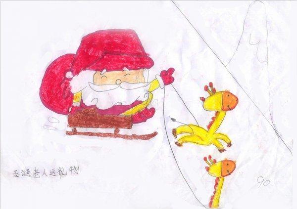 圣诞老人送礼物简笔画