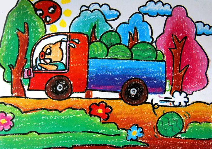蜡笔画-小白猪家的西瓜