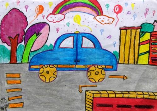 蜡笔画之快乐的彩虹汽车 -快乐的彩虹汽车简笔画 快乐的彩虹汽车图片