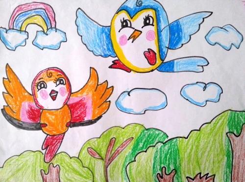 儿童画画 蜡笔画 小鸟是我们的好朋友儿童画画