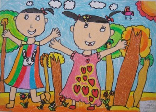 儿童画画 蜡笔画 大自然我来了儿童画画