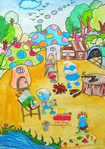 儿童画画 蜡笔画 蓝精灵的快乐假期儿童画画