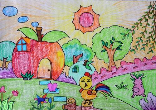 大公鸡的苹果屋简笔画 大公鸡的苹果屋图片欣赏 大公鸡的苹果屋儿童
