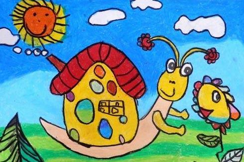 蜗牛的家简笔画 蜗牛的家图片欣赏 蜗牛的家儿童画画作品