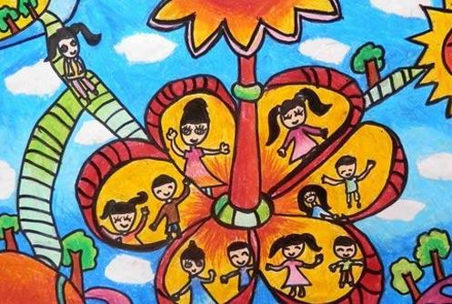 快乐的游乐场简笔画 快乐的游乐场图片欣赏 快乐的游乐场儿童画画作品