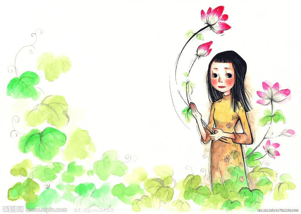 儿童画画 蜡笔画 沉思的小女孩儿童画画