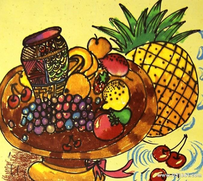诱人的水果们简笔画 诱人的水果们图片欣赏 诱人的水果们儿童画画作品