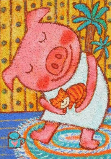 蜡笔画-可爱的小猪