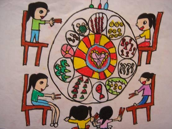 温馨的家庭聚餐简笔画 温馨的家庭聚餐图片欣赏 温馨的家庭聚餐儿童